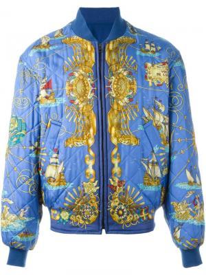 Двухсторонняя куртка-бомбер Hermès Vintage. Цвет: синий