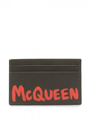 Картхолдер с принтом граффити и логотипом Alexander McQueen. Цвет: зеленый