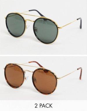 Набор из 2 солнцезащитных очков с круглыми линзами -Многоцветный Madein.