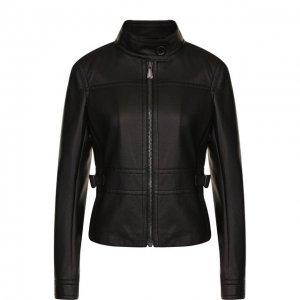 Приталенная кожаная куртка с воротником-стойкой Bottega Veneta. Цвет: чёрный