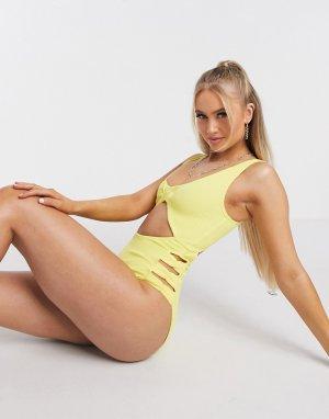 Желтый жатый слитный купальник с бантиками ASOS DESIGN