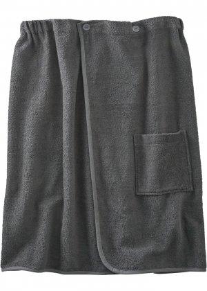 Халат банный из биохлопка bonprix. Цвет: серый