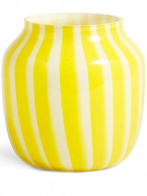 Широкая ваза в полоску Hay. Цвет: желтый