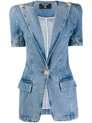 Vintage-effect denim jacket Balmain. Цвет: синий
