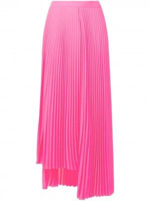 Плиссированная юбка миди с разрезом Balenciaga. Цвет: розовый