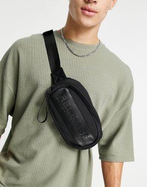 Черная сумка-кошелек на пояс -Черный цвет Bershka