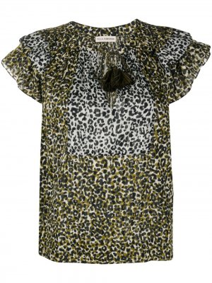Leopard-print blouse Ulla Johnson. Цвет: зеленый