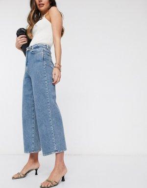 Широкие синие джинсы до щиколотки -Синий Vero Moda