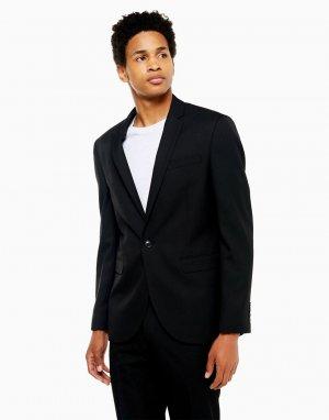 Черный однобортный пиджак узкого кроя Topman
