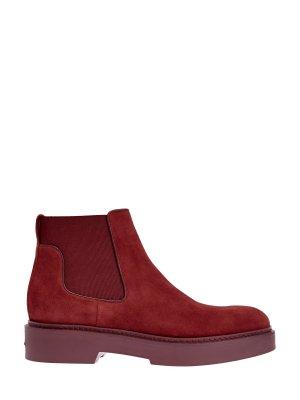 Замшевые ботинки-челси на массивной подошве SANTONI. Цвет: красный