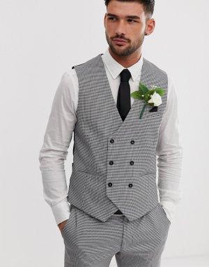 Черный приталенный жилет -Черный цвет Burton Menswear