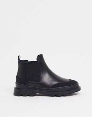 Черные кожаные ботинки челси на массивной подошве -Черный Camper