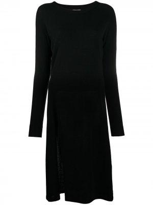 Трикотажное платье с длинными рукавами и разрезами Laneus. Цвет: черный