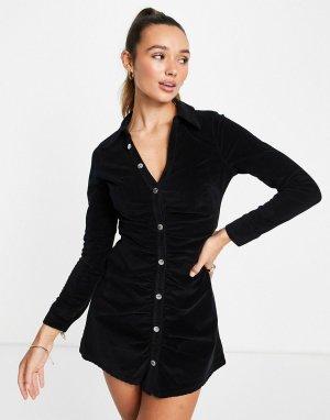Джинсовое черное платье мини со сборками спереди из бархата -Черный цвет ASOS DESIGN