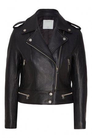 Укороченная куртка-косуха Sandro. Цвет: черный