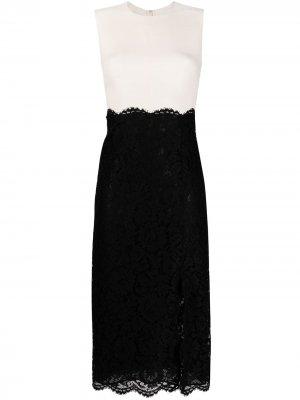 Платье миди с кружевными вставками Valentino. Цвет: черный