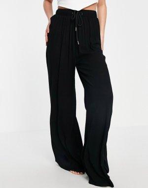 Черные пляжные брюки с широкими штанинами -Черный Public Desire