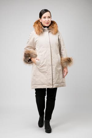 Утепленное пальто с мехом лисы для больших размеров Visconf/Violanti. Цвет: слон_кость