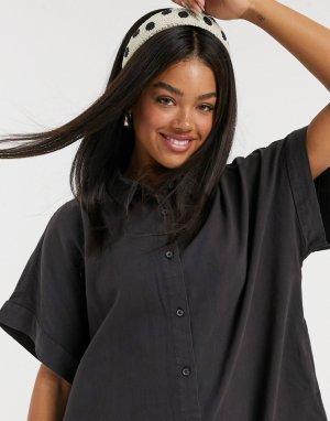 Черное джинсовое платье-рубашка из органического хлопка -Черный Monki