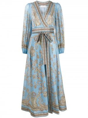 Длинное платье Fiesta с запахом Zimmermann. Цвет: синий