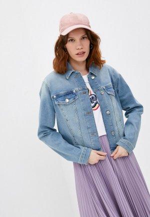 Куртка джинсовая Love Moschino. Цвет: голубой