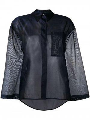 Прозрачная рубашка оверсайз Roberto Collina. Цвет: синий