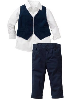 Рубашка + жилет брюки (3 изд.) (белый/темно-синий) bonprix. Цвет: белый/темно-синий