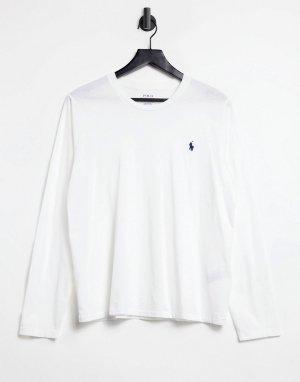 Белый лонгслив с логотипом Polo Ralph Lauren