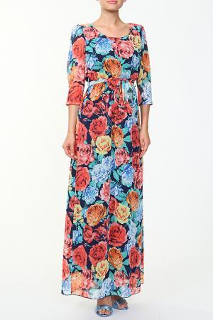 Платье с поясом Eve. Цвет: коралловый, синий
