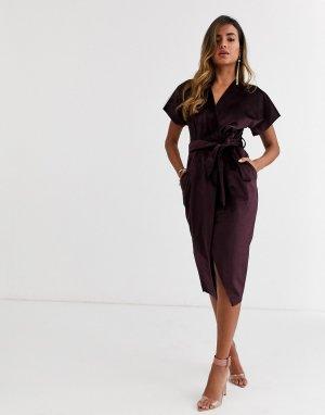 Сливовое бархатное платье миди с запахом и поясом -Фиолетовый Closet London