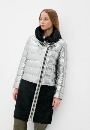 Куртка кожаная Снежная Королева. Цвет: серебряный