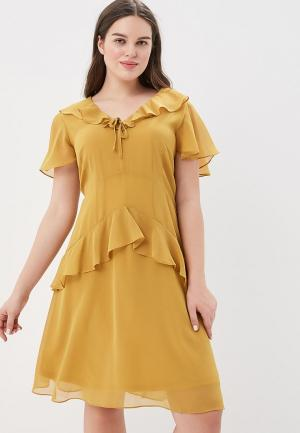 Платье Lost Ink Plus SKATER DRESS WITH FRILLS. Цвет: желтый