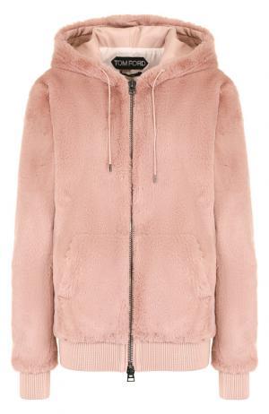 Однотонная куртка с капюшоном и кожаной отделкой Tom Ford. Цвет: розовый