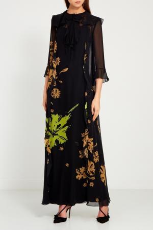 Черное платье-макси с цветами Chapurin. Цвет: черный