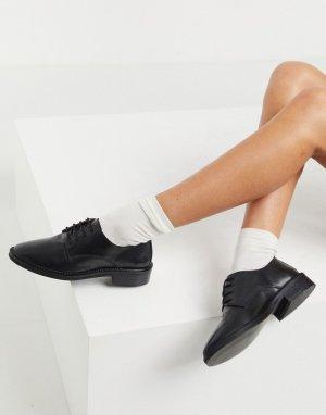 Черные кожаные броги Mayfair-Черный ASOS DESIGN