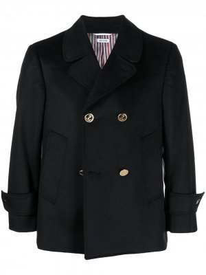 Двубортный кашемировый пиджак Thom Browne. Цвет: синий