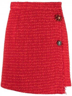 Твидовая юбка мини Semicouture. Цвет: красный