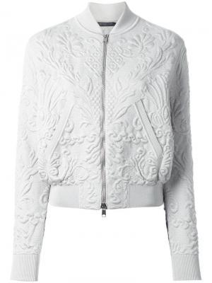 Textured jacquard bomber jacket Alexander McQueen. Цвет: серый