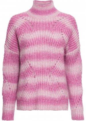 Пуловер с воротником-стойкой bonprix. Цвет: ярко-розовый
