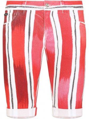 Джинсовые шорты в полоску Dolce & Gabbana. Цвет: красный