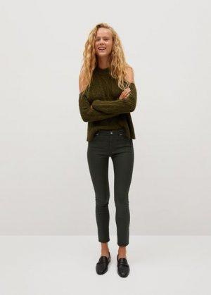 Укороченные вощеные джинсы-скинни Isa - Mango. Цвет: хаки
