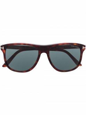 Солнцезащитные очки в круглой оправе TOM FORD Eyewear. Цвет: коричневый