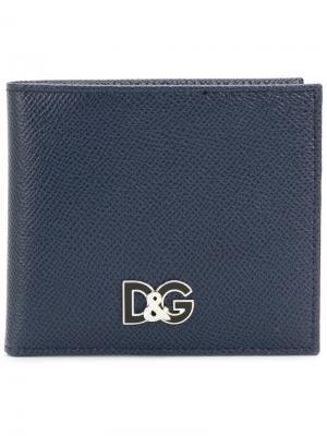 Классический бумажник Dolce & Gabbana. Цвет: синий