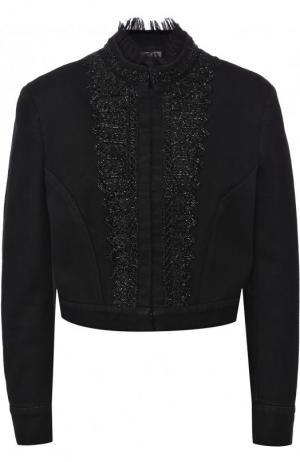 Укороченная джинсовая куртка с декоративной отделкой Alexander McQueen. Цвет: черный