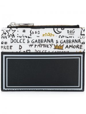 Визитница с принтом-граффити Dolce & Gabbana. Цвет: чёрный