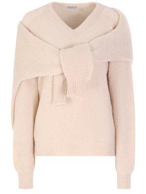 Вязаный пуловер Malo. Цвет: бежевый