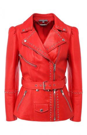 Кожаная куртка Alexander McQueen. Цвет: красный