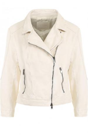 Кожаная куртка с укороченным рукавом и косой молнией DROMe. Цвет: бежевый
