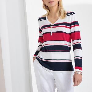 Пуловер в полоску с V-образным вырезом из трикотажа преимущественно льна ANNE WEYBURN. Цвет: в полоску