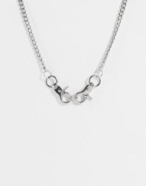 Ожерелье из короткой цепочки с застежкой -Серебристый SVNX